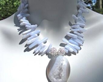 Druzy Statement Necklace, Chunky Necklace, Blue Chalcedony Sticks, Large Blue Agate Druzy Pendant, Tribal Collar Necklace  016