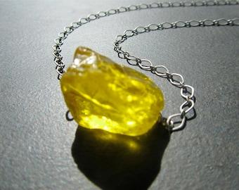 Rough Quartz Necklace, Yellow Hammered Quartz Nugget, Nugget Necklace, Quartz Pendant, Antique Brass Chain, Gift for Her  802