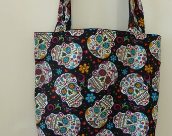 Black David Textiles ~ Day of Dead Decorated Skulls Folkloric - Cotton fabric Tote Bag