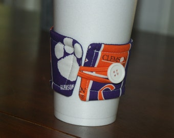 Clemson University Tigers Reusable Coffee Cup Sleeve, Cup Cozy, Huggie, Stocking Stuffer, Clemson Gifts, Gift Under 10, Big and Little Gift