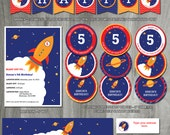 Rocket Birthday Party Pack, Self Editable, INSTANT DOWNLOAD, Invitation, Printable Party Template, Space Ship, Decoration, Digital PDF Files