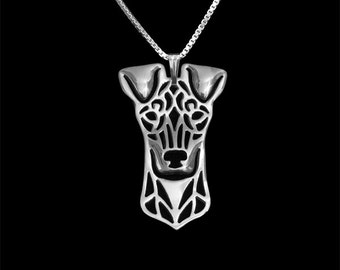 Standard Manchester Terrier - sterling silver pendant and necklace.