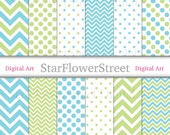 Blue Green Chevron Polka Dot Digital Paper Instant Download Scrapbook Background turquoise patterns scrapbooking photography printable