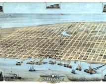 GALVESTON TEXAS 1871 Bird's Eye View Panoramic Map Digitally Remastered Poster Digital Download