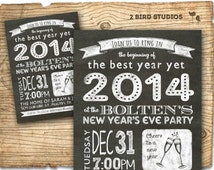 new years invitation - 2014 holiday party - chalkboard printable invitation for new years party