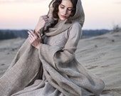 """DISCOUNTED PRICE! Fantasy Dress """"Wanderer""""; hooded dress; flax dress"""
