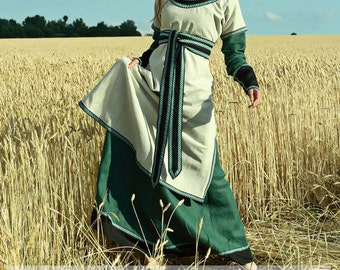 """DISCOUNTED PRICE! Medieval Lady Tunic with Overcoat """"Green Fairy"""""""