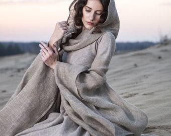 "DISCOUNTED PRICE! Fantasy Dress ""Wanderer""; hooded dress; flax dress"