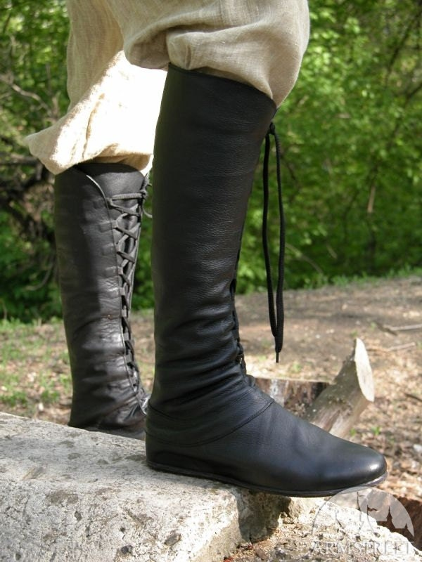 Medieval Men S High Leather Boots Forest Black By Armstreet