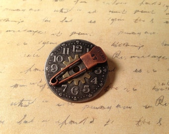 Large Steampunk Brooch Pin