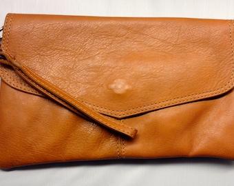 Cognac Leather  - Clutch  - Cross Body - Wristlet - Soft  Italian Leather Handbag Accessorie