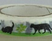 Black Cat Leaf Japanese Die Cut Washi Tape Masking Tape Deco Tape Paper Tape Slim type  (TM00218)