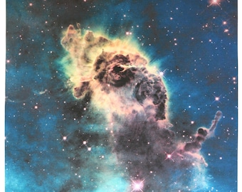Astronomy Fabric Jet in Carina Nebula 17 x 17 inches on Linen-Cotton Canvas