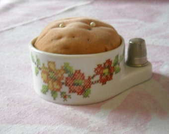 Vintage Porcelain Pin Cushion With Thimble Holder Attached