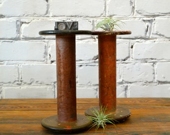 Vintage Wood Textile Mill Spool - home decor, display