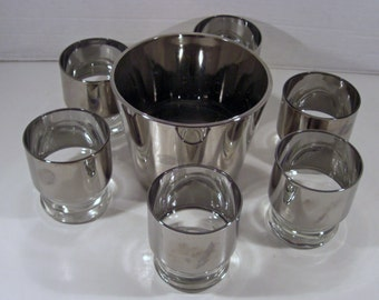 Retro Silver Mercury 6 Lo Ball Glasses and Faux Smooth Mercury Ice Bucket  - Dorothy Thorpe Mad Men Styling Glassware - Shipping Included
