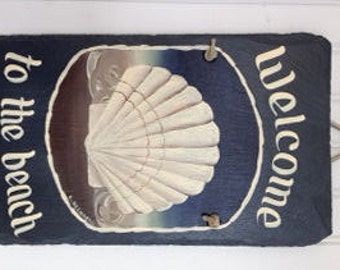 Handpainted Personalized medium rectangle Scallop Shell  Summer Beach Welcome Sign Slate