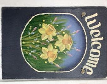 Handpainted Personalized Daffodil Spring  Slate Welcome Sign Large