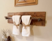 "Rustic Wood Towel Rack - Large, reclaimed towel hanger with railroad spikes, 30"" x 8"" barn wood towel bar"