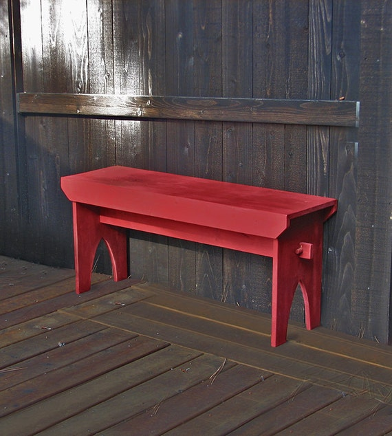 Farmhouse Bench Red Distressed Bench Rustic By Tumbleweedcabin