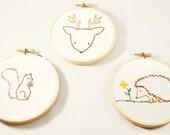 Woodland animals tryptich nursery art hand embroidered squirrel deer hedgehog embroidery hoop