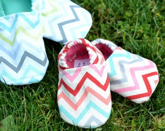 Summer Chevron Shoes-Custom made, any size, Crib Shoes, Soft soled shoes, Booties, Baby Shoes, Slippers, Gender Neutral, Twins, Baby Shower