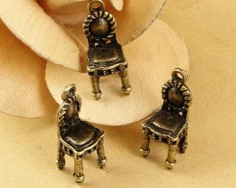 20pcs 8x23mm Antique Bronze 3D Chair Dollhouse Charm Pendant  Jewelry Supplies Findings Drops A1545