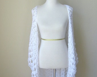 WHITE CROCHET VEST Fit Any Size, Long Crochet Vest, Maxi Vest, Cardigan Lace Top Gypsy Boho Chic Vest, Gift for Her