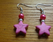 dangle earrings with crackled pink star charm, ecofriendly earrings