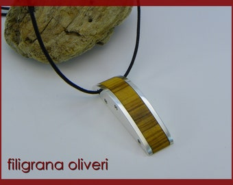 Olive Wood Pendant and Silver 925
