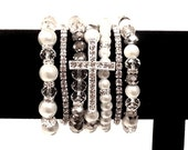 Silver Rhinestone Sideways CROSS White Pearl Silver Clear Bead Stretch Stacking Layer Fashion Bracelet Gift Set Bling Wedding Prom Party
