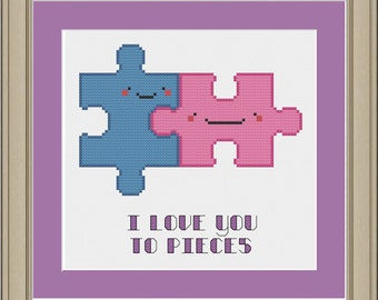 I love you to pieces: cute puzzle piece cross-stitch pattern