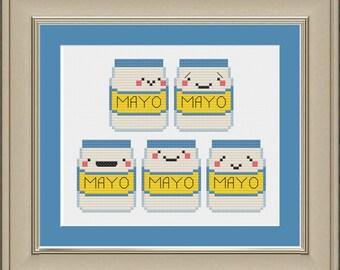 Cinco de Mayo: funny mayonnaise cross-stitch pattern