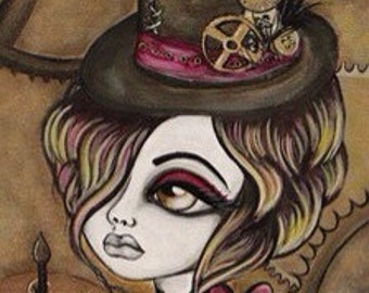 10 x 20 PRINT of STEAMPUNK painting by Lizzy Falcon