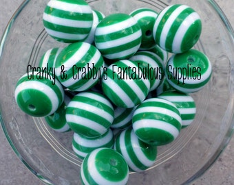 20mm Resin Gumball Stripe Beads  -  Chunky Necklaces - Set of 10 - Emerald Green