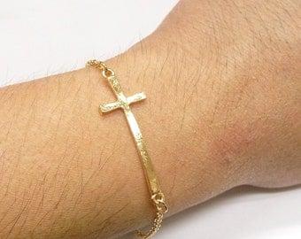A sideway-cross bracelet, choose one gold/silver/rhodium