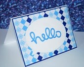 Hello blue and white diamond thinking of you how are you card