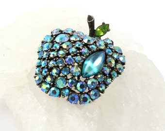 Designer Signed ART Mode Rhinestone Brooch // Apple Figural  // Pink AB Rhinestones  // 1950s to 1960s