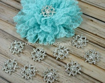 Snowflake Rhinestone Buttons - 22mm - 5 Metal Base - Winter Buttons - RSF-001