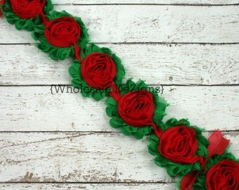 Green with Red Center Shabby Chic Chiffon Flowers - Frayed Vintage Rosettes - Christmas - Half or 1 Yard Trim