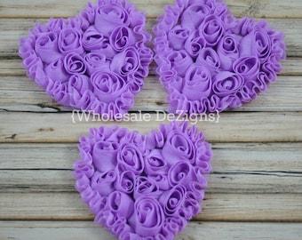 """3 Lavender Shabby Rosette Heart - 3"""" Valentines"""