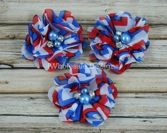 Fourth of July Chiffon Layered Flower - Rhinestone & Pearl Center - Chevron Red, White, and Blue 2""