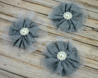 """Grey Lace and Tulle Flower with 18mm Pearl Rhinestone Center 3.5"""" - 3 Pieces"""