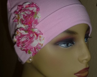 Ladies  Pink Cotton Knit Chemo Hat with Flower, Girls Knit  Pink  Hand decorared Chemo Hat