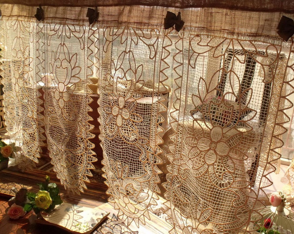 4 Panels Custom French Vintage Cotton Lace Valance Burlap