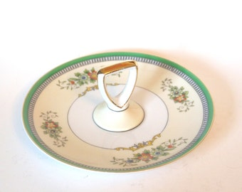 Vintage Center Handled Plate China Art Deco Noritake M Bon Bon Plate Green and Gold Tidbit Tray - Japan Circa 1920s Dining Serving Plate
