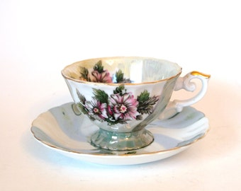 Vintage Teacup Set Lusterware Green Swirl Porcelain Tea Cup and Saucer Set with Purple Flowers  - Japan - Mid Century Afternoon Tea Party