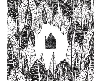 In the Woods illustration print
