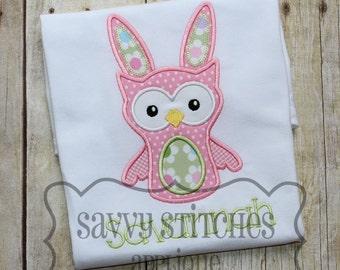Owl Bunny Machine Embroidery Applique Design