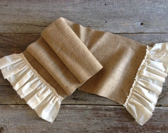 Burlap Table Runner with Muslin Ruffle, Table Runner, Burlap, Rustic Runner, Shabby Chic Runner